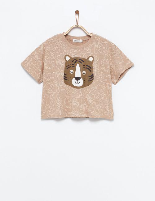 חולצת טי בהדפס נמר עם חרוזים
