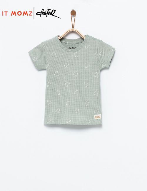 חולצת טי מודפסת בטקסטורת וופל