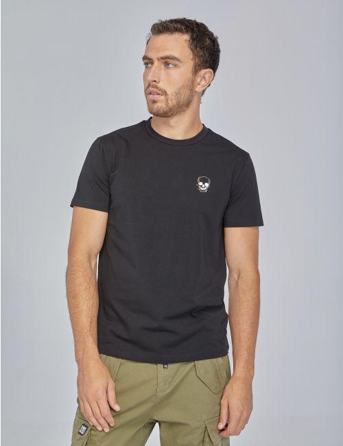 חולצת טי עם הדפס גולגולת קטנה