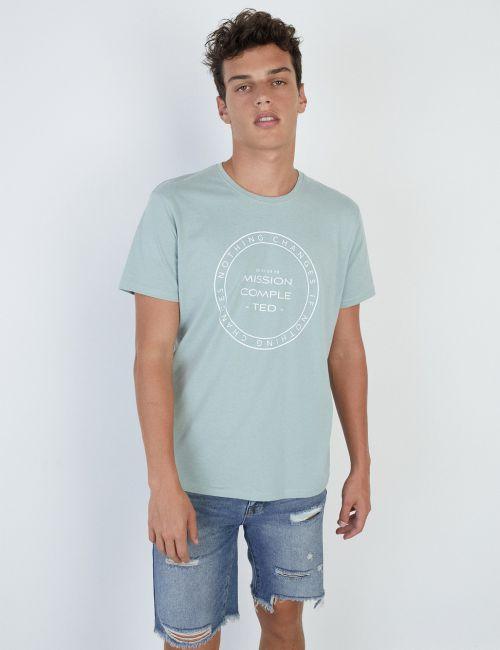 חולצת טי בהדפס עיגול טקסט