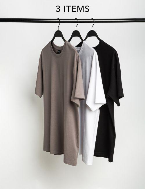 מארז 3 חולצות טי אוברסייז
