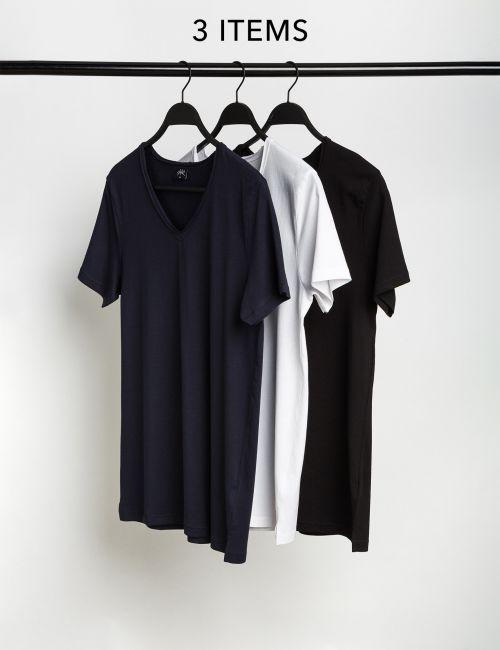 מארז 3 חולצות טי צווארון וי