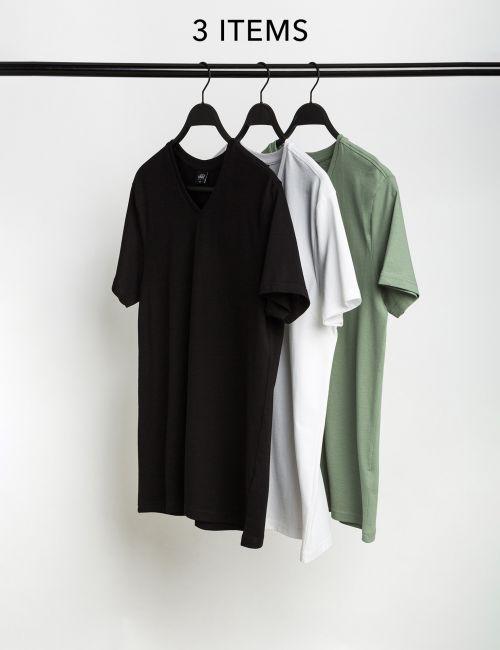 מארז 3 חולצות טי סלאב בגזרה צמודה וצווארון וי