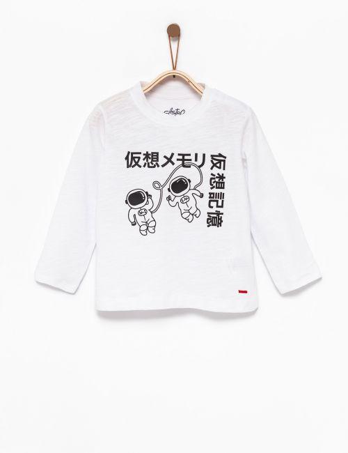 חולצת טי בהדפס אסטרונאוט יפני