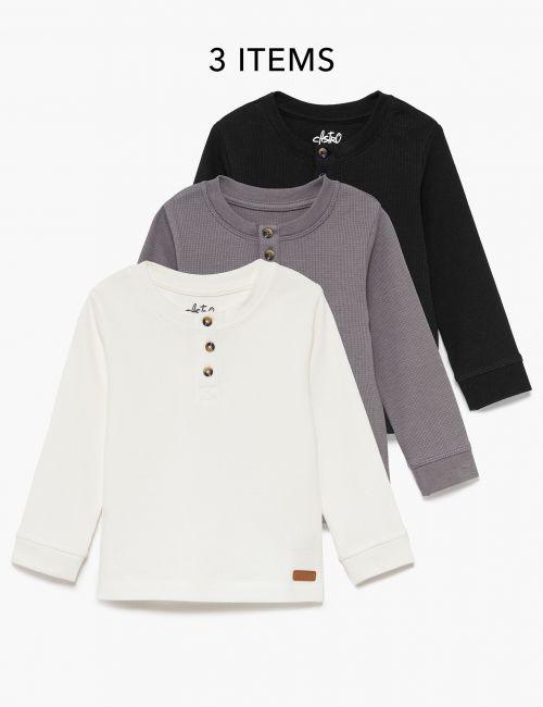 מארז 3 חולצות טי וופל עם כפתורים