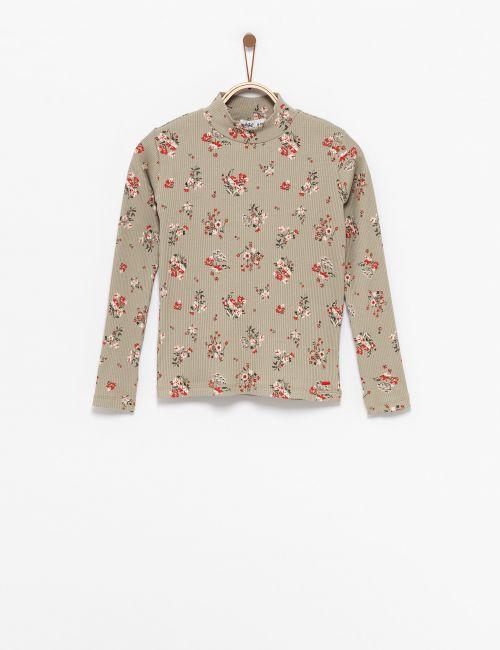 חולצת טי ריב פרחונית