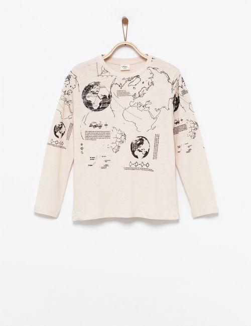 חולצת טי בהדפס מפת עולם