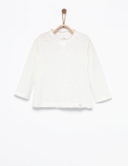 חולצת טי עם צווארון עגול מגולגל