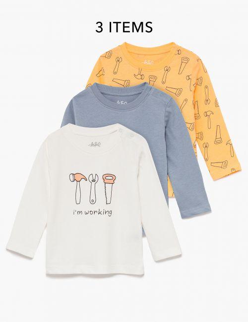 מארז 3 חולצות טי ארוכות מודפסות