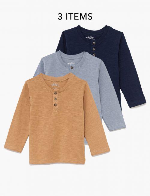 מארז 3 חולצות ארוכות עם כפתורים