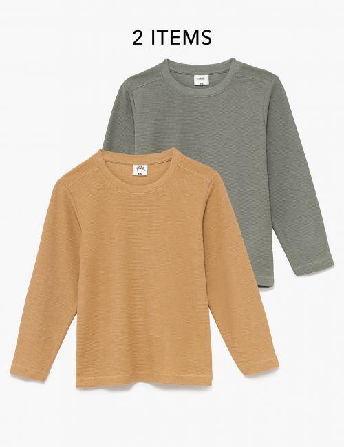 מארז 2 חולצות טי בטקסטורת וופל