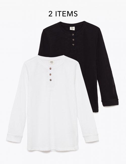 מארז 2 חולצות טי ארוכות עם כפתורים