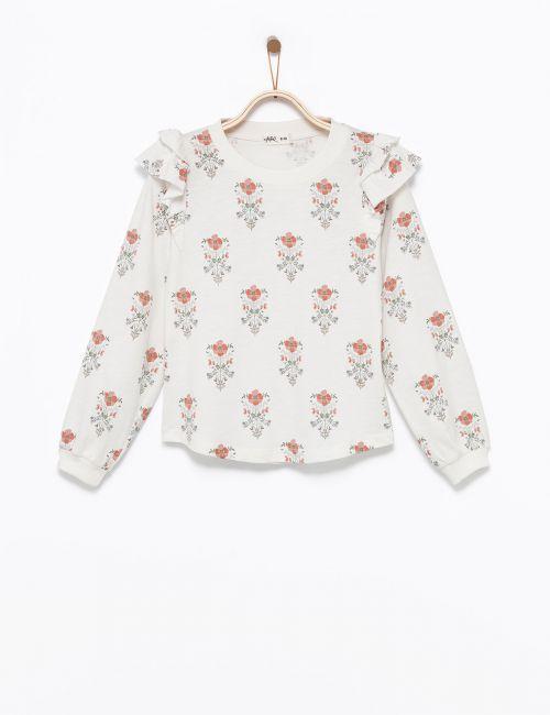 חולצת טי פרחונית שרוולי וולאן