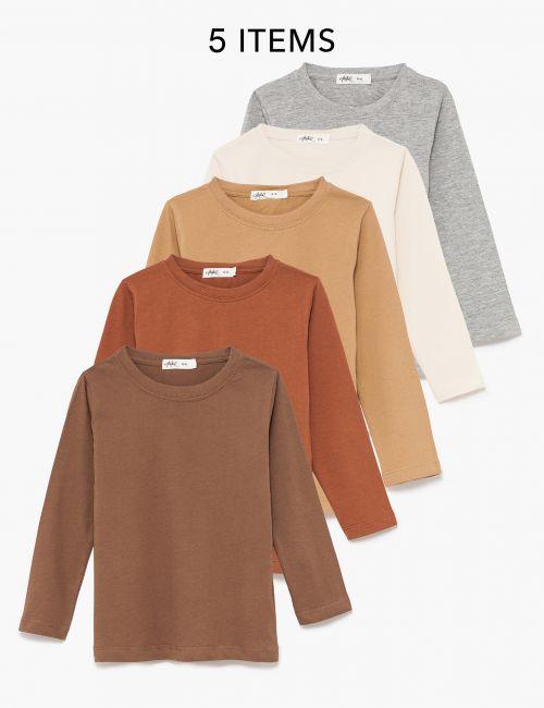 מארז 5 חולצות בייסיק שרוול ארוך