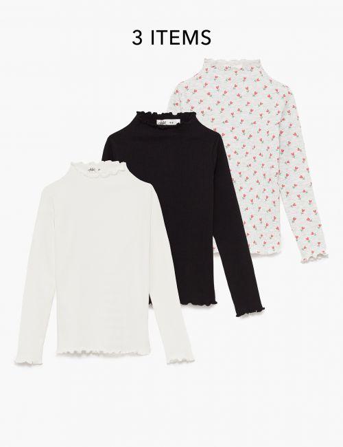 מארז 3 חולצות טי ריב מודפסות