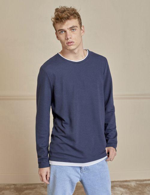 חולצת טי פסים 2 שכבות