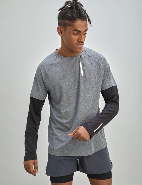 חולצת טי ACTIVE במראה 2 שכבות