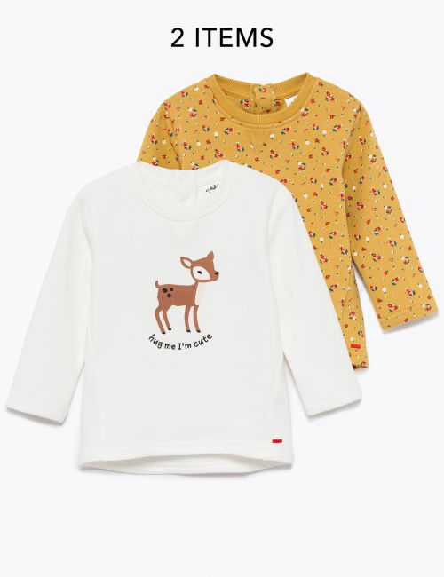 מארז 2 חולצות פוטר בהדפסי חיות ופרחים