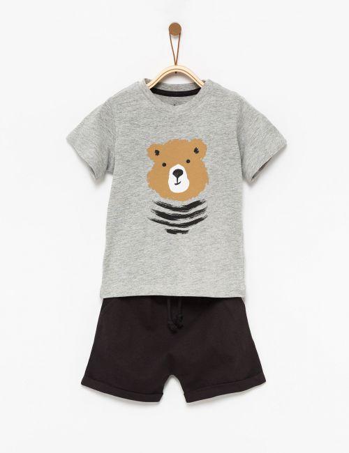 חליפת גן בהדפס דובי