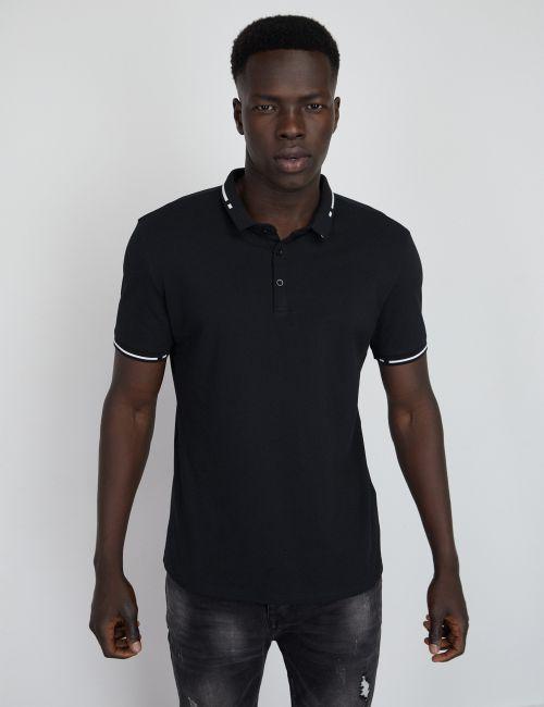 חולצת פולו ריב עם צווארון מעוצב
