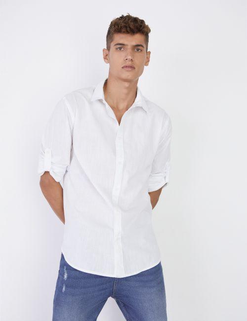 חולצה מכופתרת שרוולים מקופלים