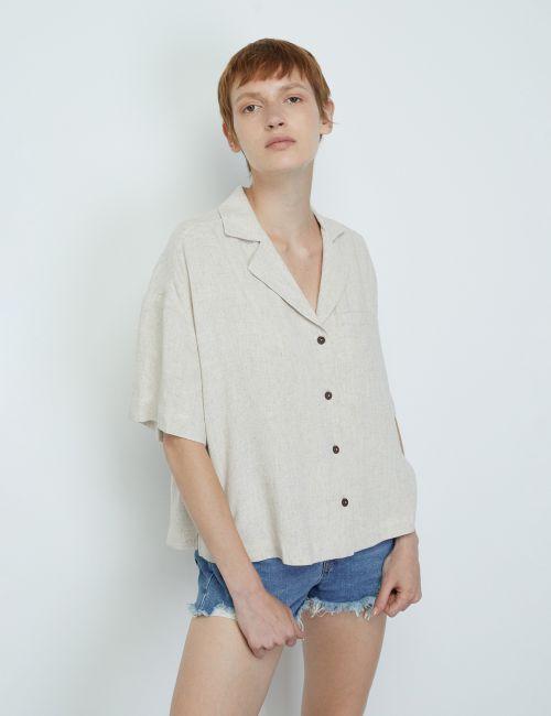 חולצה מכופתרת בשילוב פשתן