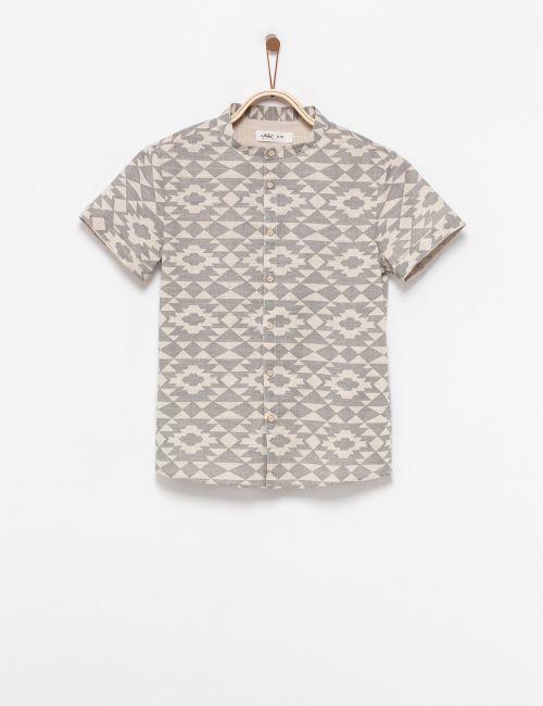 חולצה מכופתרת מודפסת צווארון סיני
