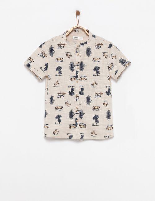 חולצה מכופתרת בהדפס סוסים
