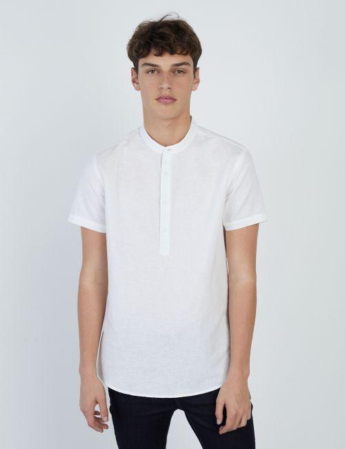 חולצה בשילוב פשתן עם כפתורים
