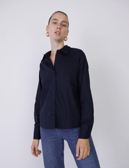 חולצת פופלין מכופתרת קלאסית