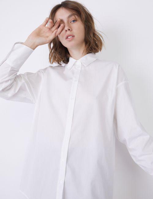 חולצת פופלין מכופתרת אוברסייז