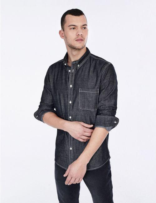 חולצת ג'ינס עם כיס קדמי
