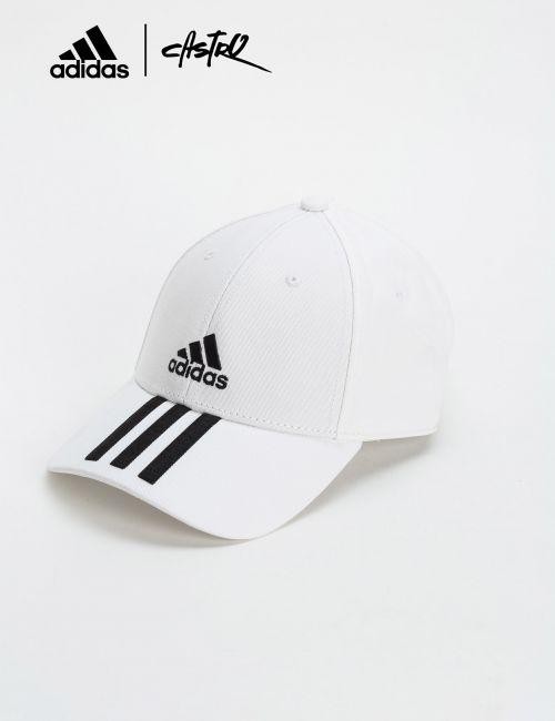 כובע מצחייה Adidas לבן פסי לוגו