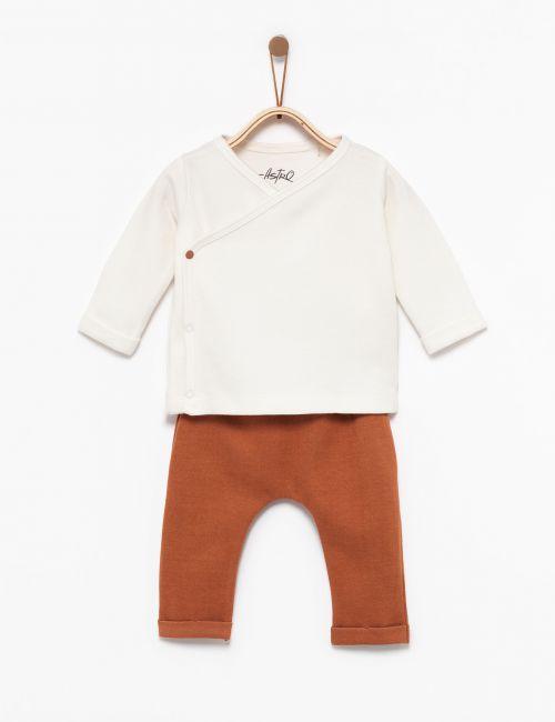 סט חולצת מעטפת ומכנסיים
