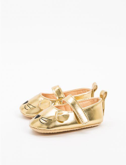 נעלי בלרינה במראה עור מטאלי