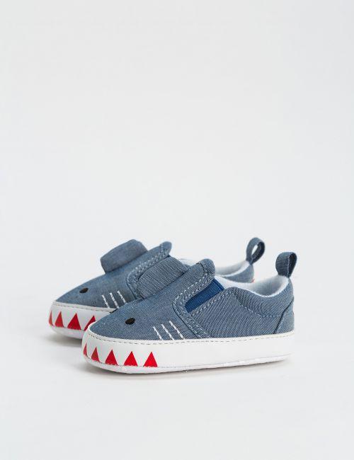 נעלי בד במראה ג'ינס - כריש