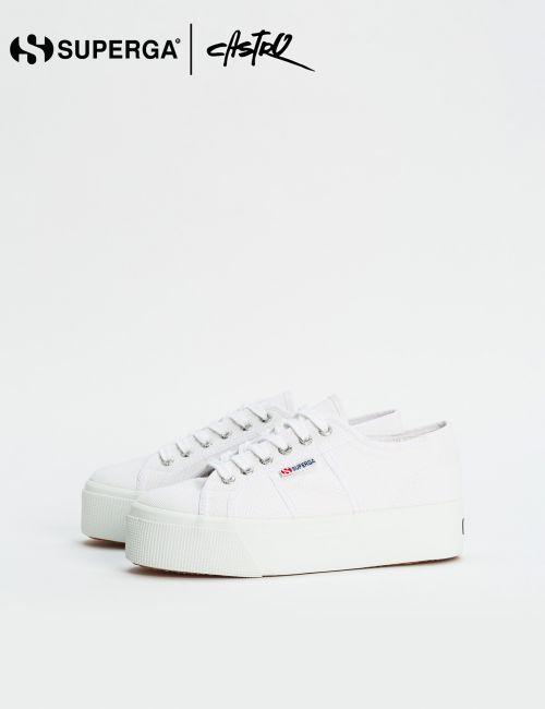 נעלי Superga לבנות עם סולייה גבוהה / נשים