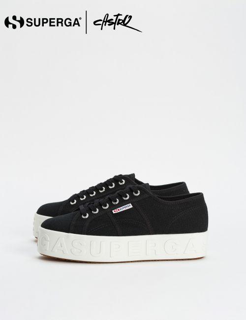 נעלי Superga שחורות גבוהות עם סוליית טקסט / נשים