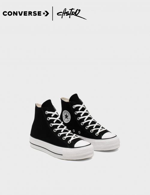 נעלי Converse שחורות גבוהות עם סולייה גבוהה / נשים