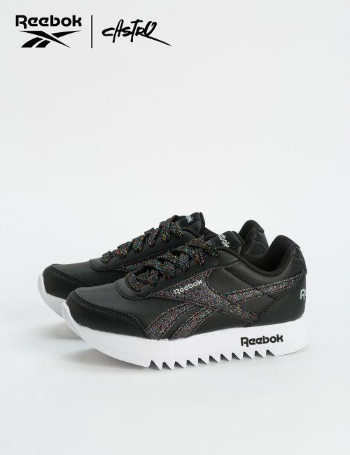 נעלי Reebok שחורות עם נצנצים צבעוניים / ילדות