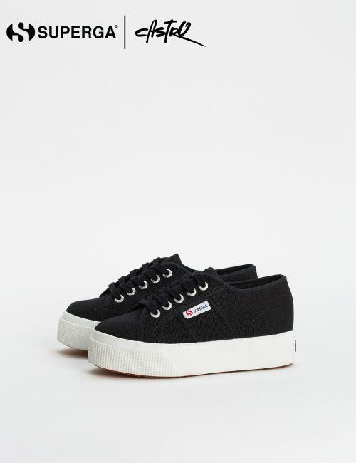 נעלי Superga שחורות עם סולייה גבוהה / ילדות