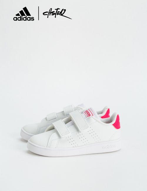 נעלי Adidas לבנות ולוגו ורוד - מידות קטנות