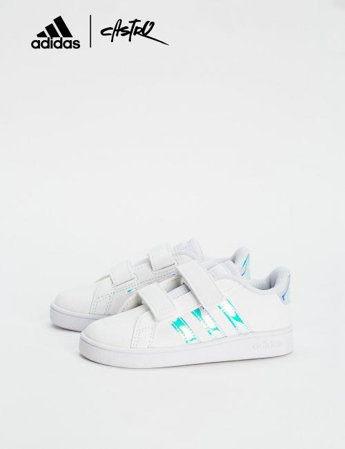 נעלי Adidas לבנות עם לוגו מבריק - מידות קטנות