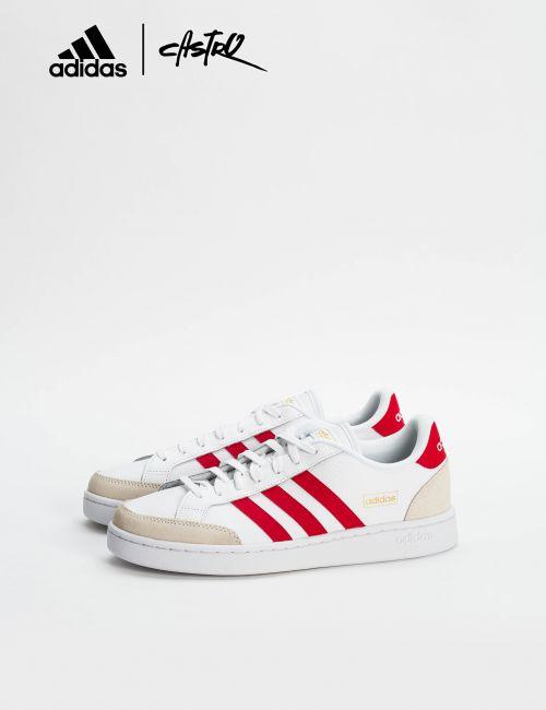 נעלי Adidas לבנות ופסים אדומים / גברים