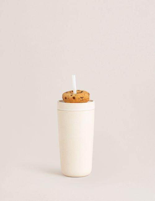 """כוס שתייה עם קשית מבמבוק 500 מ""""ל"""