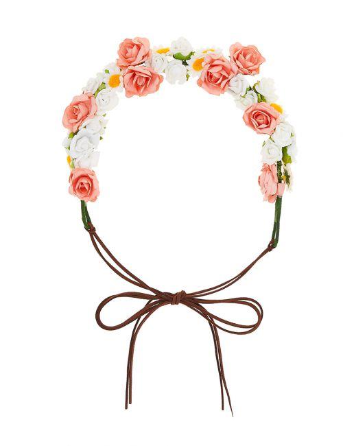זר פרחים לשיער - קוראל
