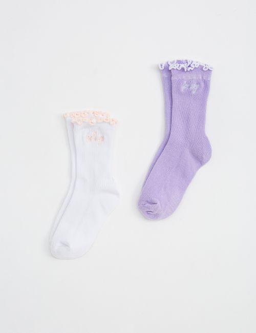 זוג גרביים בסיומת מסולסלת