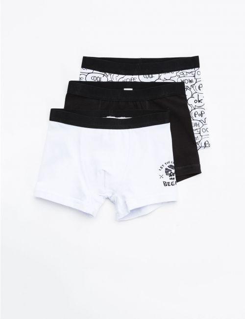 שלישיית תחתונים שחור-לבן